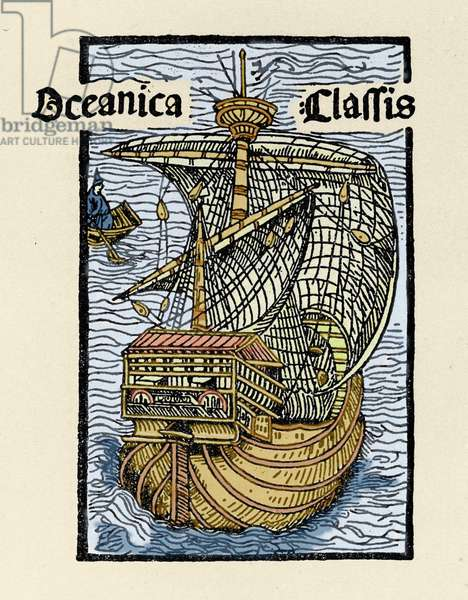 """Representation of the caravel Santa Maria by Christopher Columbus (1451-1506). Engraving from """""""" De insulis in mare Indico super inventis"""""""", Bale 1493-1494 (Latin translation of Columbus's report to the King of Spain)."""