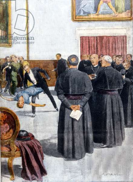 The crusade against the tango in the USA. In 1914, the bishops of Philadelphia attended the dance and banned it. Illustration by E.Abbo