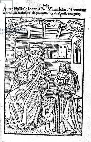 """Portrait of Giovanni Pico della Mirandola (Jean Pic de la Mirandole). Title page of """""""" Epistole auree"""""""", 1555."""
