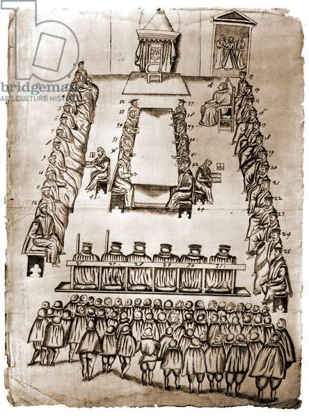 Ink drawing depicting Queen Marie Stuart's trial room on 14 and 15/10/1586 at Fotheringhay Castle. This drawing was among the papers of Robert Beale (1546 - 1601) who handed down the sentence for the execution of the Queen of Scotland. The queen is represented entering the upper right and then sitting. London, British Museum.