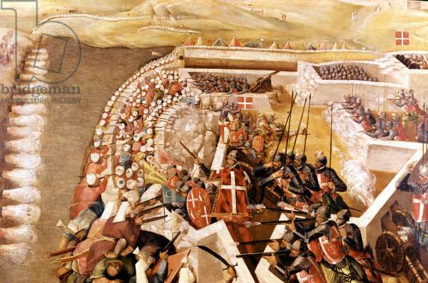 Siege of Malta: attack by the Saracens on the island of Malta defended by the knights, 1565.