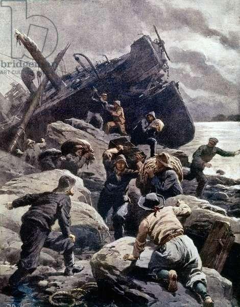 Breton shipwrecks in 1906. Italian illustration.