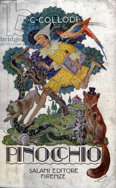 """Cover of Carlo Collodi's book """""""" Pinocchio"""""""" edited by Salani editore, ca. 1920."""