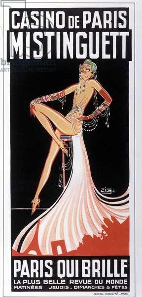 Affiche de Mistinguett (Mistinguette) au Casino de Paris par Zig. 1931. DR