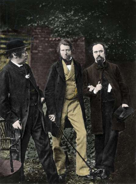 Portrait of William Bell Scott, John Ruskin and Dante Gabriel Rossetti, 1863 - William Bell Scott with John Ruskin and Gabriel Charles Dante Rossetti on June 29, 1863 - photograph by William A Downey