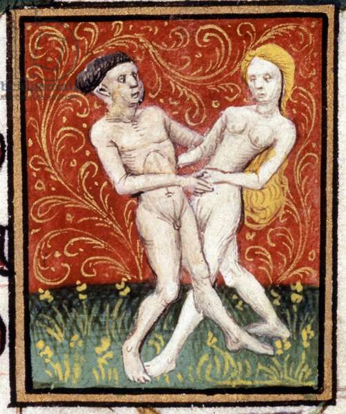 Gemini. Miniature of a horoscope. 15th century manuscript. Bibl. Trivulziana, Milan.