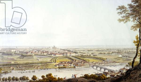 View of Turin. Engraving 1810.