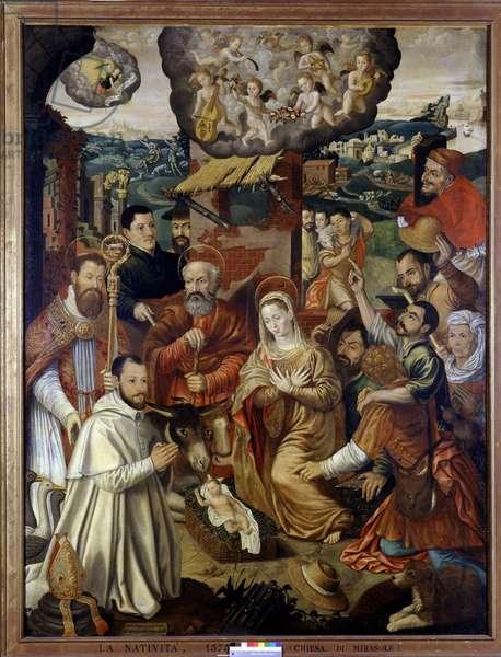 La nativite, 1575. Anonymous painting. Museo della scienza e della tecnica, Milan.