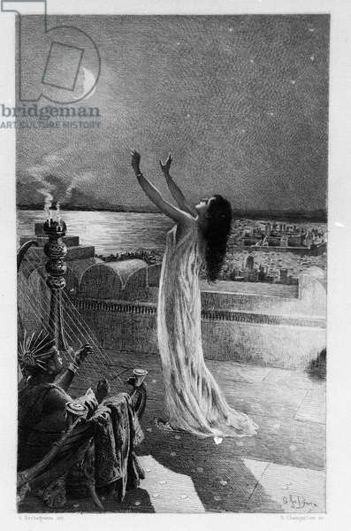 """Salammbo, daughter of Hamilcar Barca (or Barcas), prays Tanit, goddess of the moon Illustration of Georges Antoine Rochegrosse (1859-1938) for the novel """"Salammbo"""" by Gustave Flaubert, taking as a framework the mercenary war at the time of the First Punic War (246-241 BC) between the Romans and Carthaginians."""