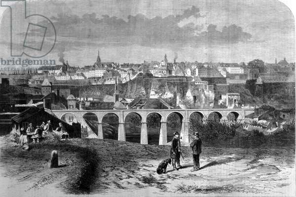 View of Luxembourg City. 19th century engraving.