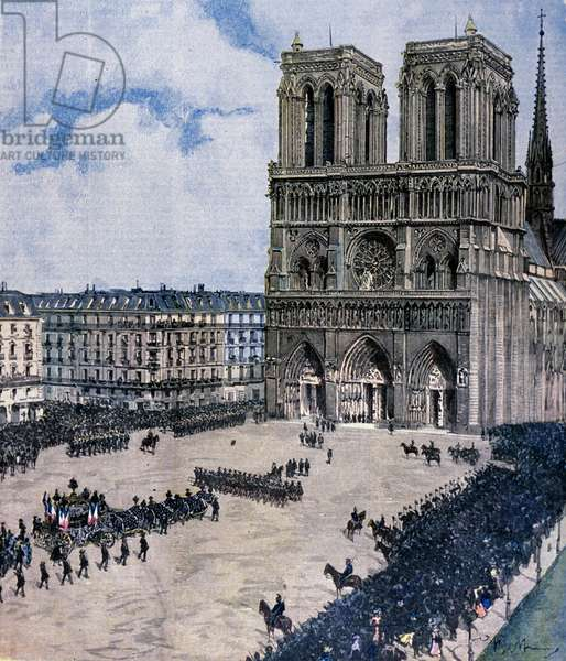 Funeral of Felix Faure at Notre Dame Cathedral in Paris in 1899 Illustration of Achille Beltrame
