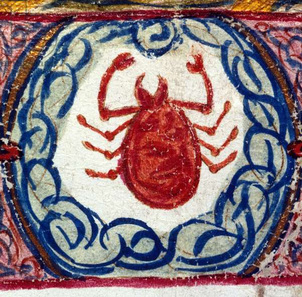 The sign of cancer. Italian horoscope dating from the mid-15th century.