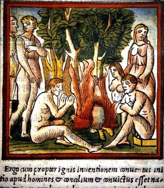 "Fire and Primitives - in """" De architectura"""" of Vitruva, 16th century, Bibl. Trivulziana, Milan."