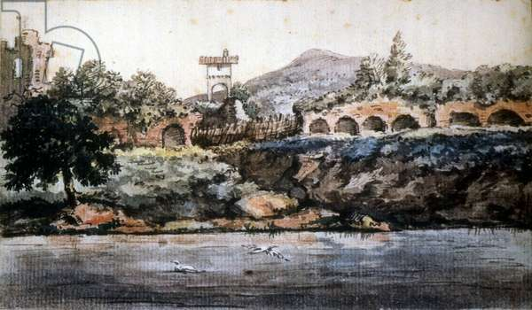 Roma - view of the Tiber, watercolour of Goethe. sd. 19th century.
