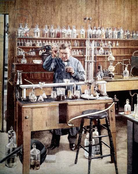 Illustration depicting Thomas Edison (1847 - 1931), American inventor, in his laboratory.