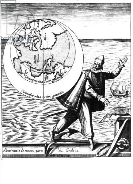 """Christopher Columbus - in """"Nova Tipus Transacto Navigatio Novi Orbi"""" by Philoponus Honorius, 1621."""