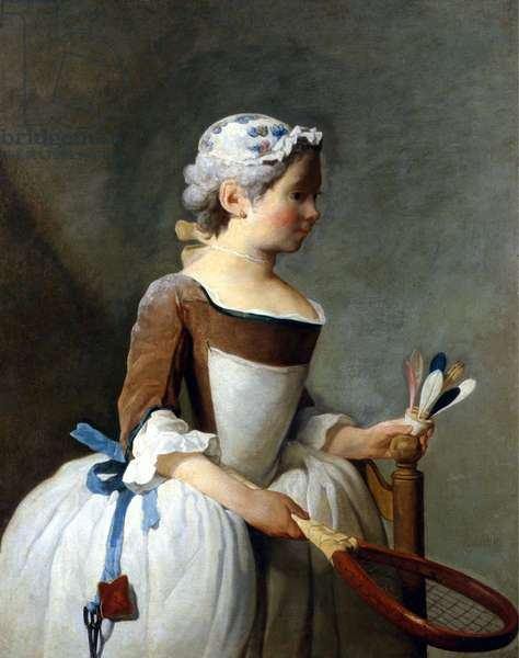 Young girl with snowshoe and steering wheel, Jean Baptiste Siméon Chardin (1699 - 1779), oil painting, Uffizi Museum, Florence. *