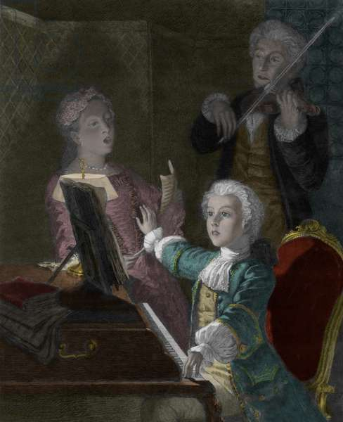 Wolfgang Amadeus Mozart with his Father, Leopold and sister, Marie-Anne (coloured engraving)