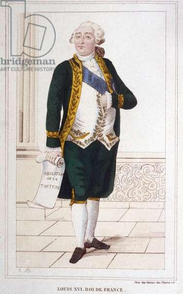 Portrait of Louis XVI (1754 - 1793) Engraving of 1830