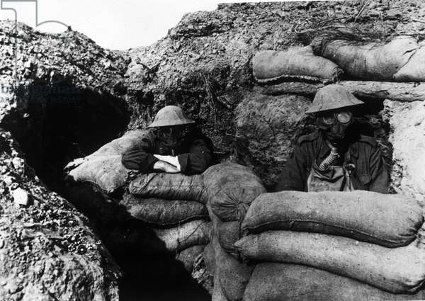 Ypres 30/09/1917.13th battalion of the Australian infantry in trenches wearing gas masks.