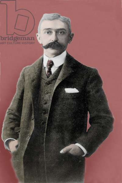 portrait of Baron Pierre de Coubertin (1863-1937), renovator of the Olympic Games (modern Olympic Games).