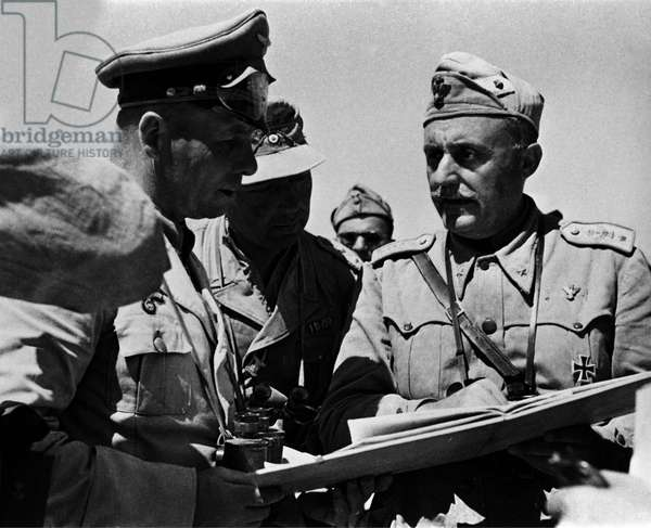 Erwin Rommell and General Giovanni Messe (1883-1968) in Libya in 1943.