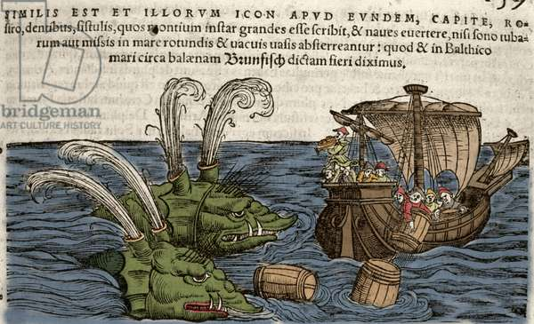 Sea Monsters, illustration from 'Historiae Animalium' by Conrad Gesner, 1560 (colour litho)