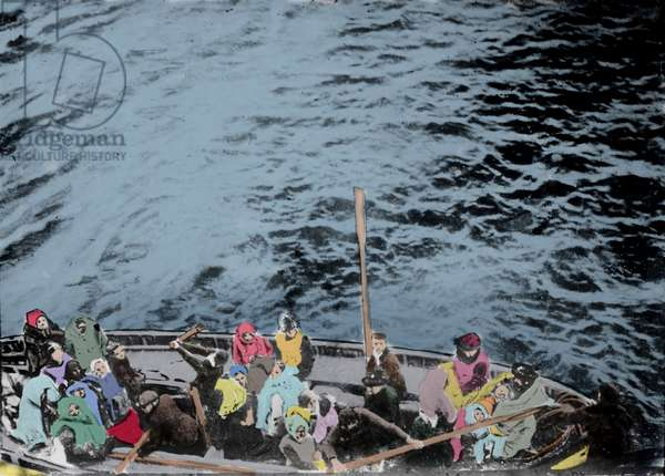 Photograph taken from the Carpathia of a lifeboat loaded with Titanic survivors during the shipwreck in April 1912.