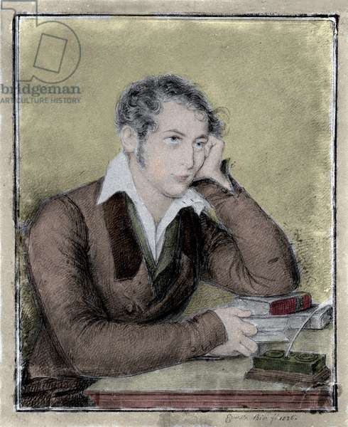 Risorgimento: portrait of the patriot, philosopher, political thinker Carlo Cattaneo (1801-1869) drawing by Ernesta Bisi, 1826.