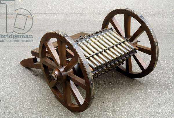 Rotary cane gun. Model made from the drawing of Leonardo da Vinci (Leonardo da Vinci).
