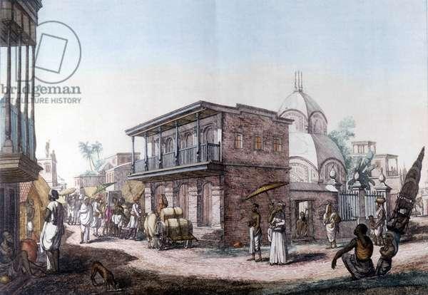 Hindu buildings: street in the city of Calcutta (Kalkata), India.