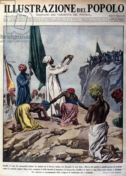 """Demonstration led by political leader Mohandas Karamchand Gandhi (1869-1948) to protest the English authorities, depicting a ceremony during the so-called Martyrs march towards Jalaipur. Illustration taken from """""""" L'illustrazione del popolo"""""""" March 1930"""
