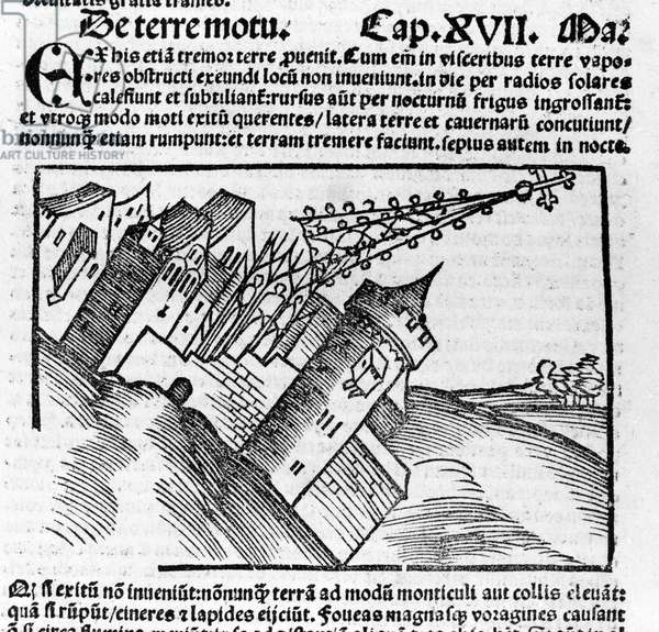 Representation of the earthquake in the 16th century.
