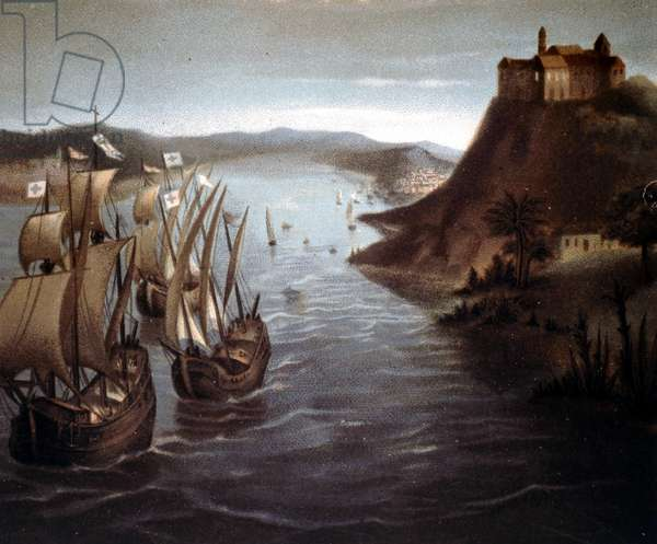 The departure of Christopher Columbus from Palos. 19th century chromolithography.