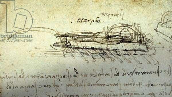 Study for a war machine Escorpio by Leonard de Vinci (Leonardo da Vinci) (1452 - 1519). Drawing with pen and ink.
