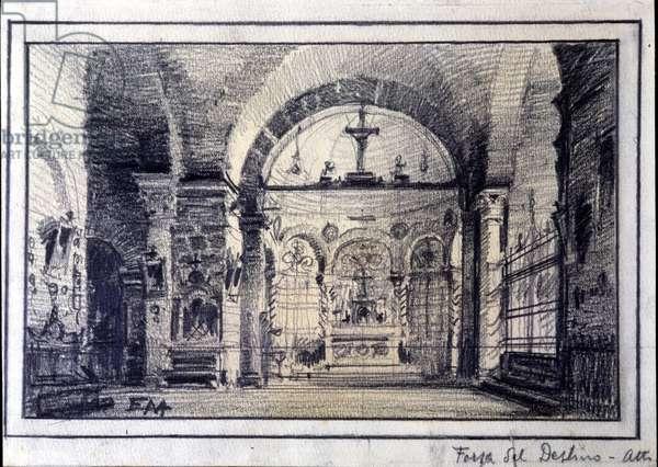 """Scenography by Edoardo Marchioro (1882-1935) for the opera """"La forza del destino"""" by composer Giuseppe Verdi (1813-1901) for the performance at the Teatro alla Scala (theatre of La Scala in Milan, years 1920)"""