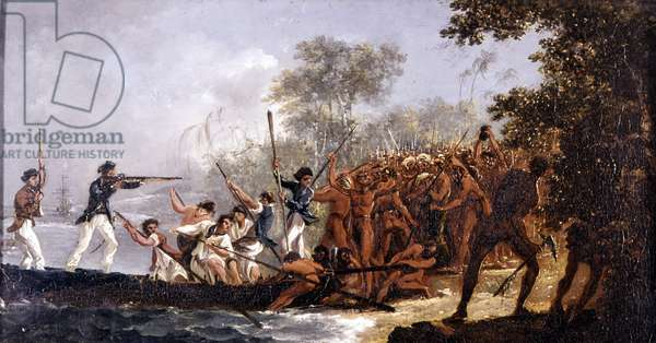 Episode of the meeting of the sailors of Cook with the natives of Erromanga (= Vanuatu, Melanesia, which Cook was later called the New Hebrides), 1774. Greenwich Maritime National