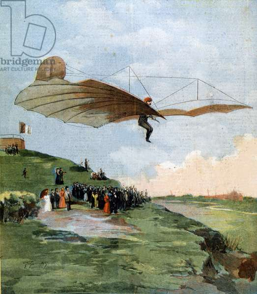 Flight of Otto Lilienthal (1848 - 1896), pioneer of gliding. 1894.