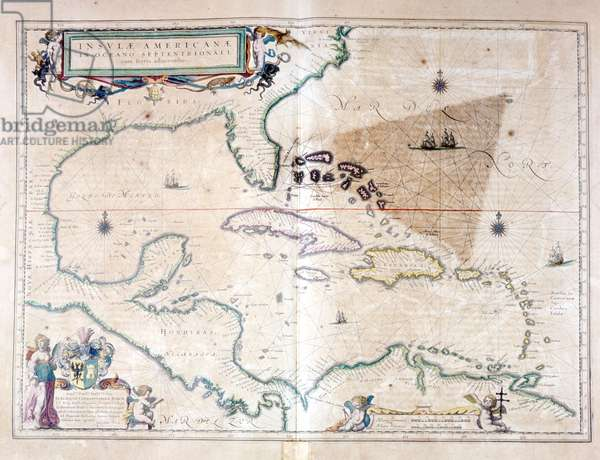 The Caribbean Sea: you can see the Bermuda triangle between the Bermuda Archipelago, Miami and Puerto Rico. According to Wilhelm Blaeu's Atlas, 1650.