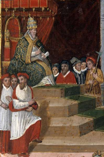 Gregoire XIII (Ugo Boncompagni, 1502-1585), pope from 1572 to 1585, promulgating the new calendar (1582) Tablet of Biccherna (1582-1583) Siena State archives. gregorian calendar. Panel on wood. Biccherna. Archivio di Stato (National Archive), Siena.