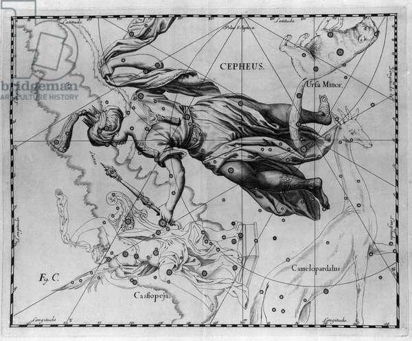 "The constellation of Cepheus (or Cephee), king of Ethiopia. Plate drawn from """" Firmamentum Sobiescanum sive Uranographia"""" by Johannes Hevelius or Hevel (1611-1687), 1690."