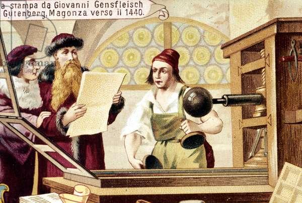 Johannes Gensfleisch Gutenberg (1400-1468). circa 1440. 19th century chromolithography.