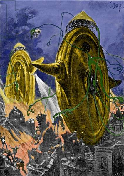 """The novel """"The war of the worlds"""" by H. G. Wells (Herbert Georges) (1866-1946). Illustration by H. Lanos. Start of the century."""