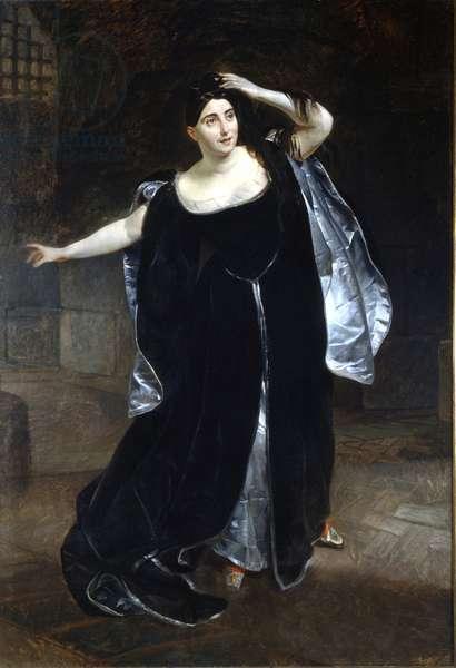 """Giuditta Pasta (1797-1865) and """"Anne Boleyn"""" (Anne de Boleyn (Anna or Ann Bolin and Anne Bullen, 1501/1507-1536) by Gaetano Donizetti. Painting by Brullov, 1834. Museo della Scala in Milan"""