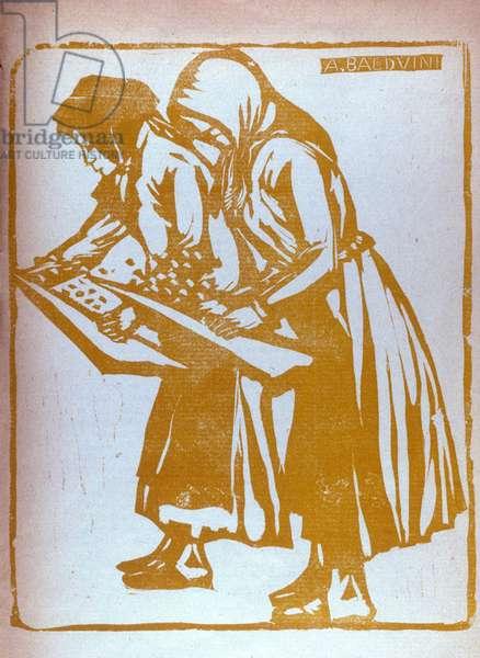 "Illustration by Adolfo Balduini (1881-1957) of ""Poemetti georgici"" by Italian poet Giovanni Pascoli (1855-1912) 1935"