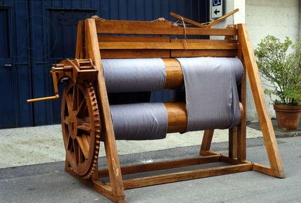 Wool loom. Model from the drawing of Leonardo da Vinci (Leonardo da Vinci). Museum of Science and Technology, Milan.