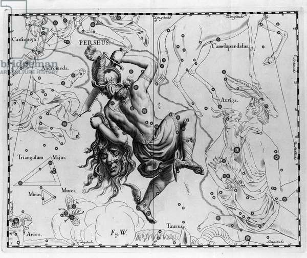 """The constellation Persee. Plate drawn from """""""" Firmamentum Sobiescanum sive Uranographia"""""""" by Johannes Hevelius or Hevel (1611-1687), 1690."""