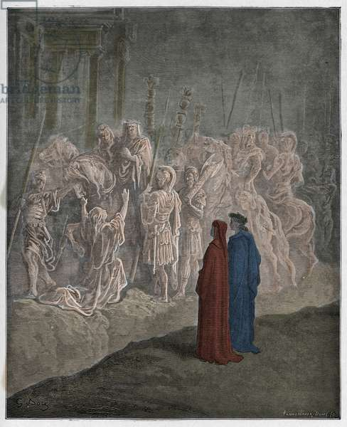 Purgatorio, Canto 10 : The marble sculptures portraying pride, illustration from 'The Divine Comedy' by Dante Alighieri, 1885  (digitally coloured engraving)