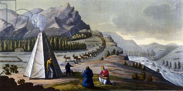 """Sami landscape: indigenous people living in the lands of the northern countries (Norway, Finland, Sweden and Russia) making wicker baskets, cleaning the fish near a tent. in """""""" The old and modern costume"""""""" by Ferrario, ed. Milan, 1819 - 1820."""