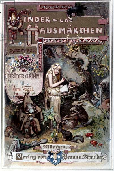 Kinder und hausmarchen (Tale of childhood and home) 1812: the fables of the Grimm brothers. Cover of Hermann Vogel from 1894 representing Snow White.